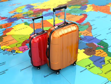 55008765 - travel or tourism concept. luggage on the world map. 3d