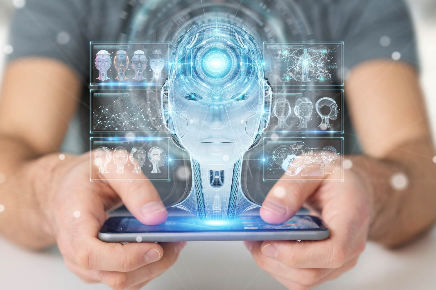 Man holding smartphone with AI robot hologram projecting from it