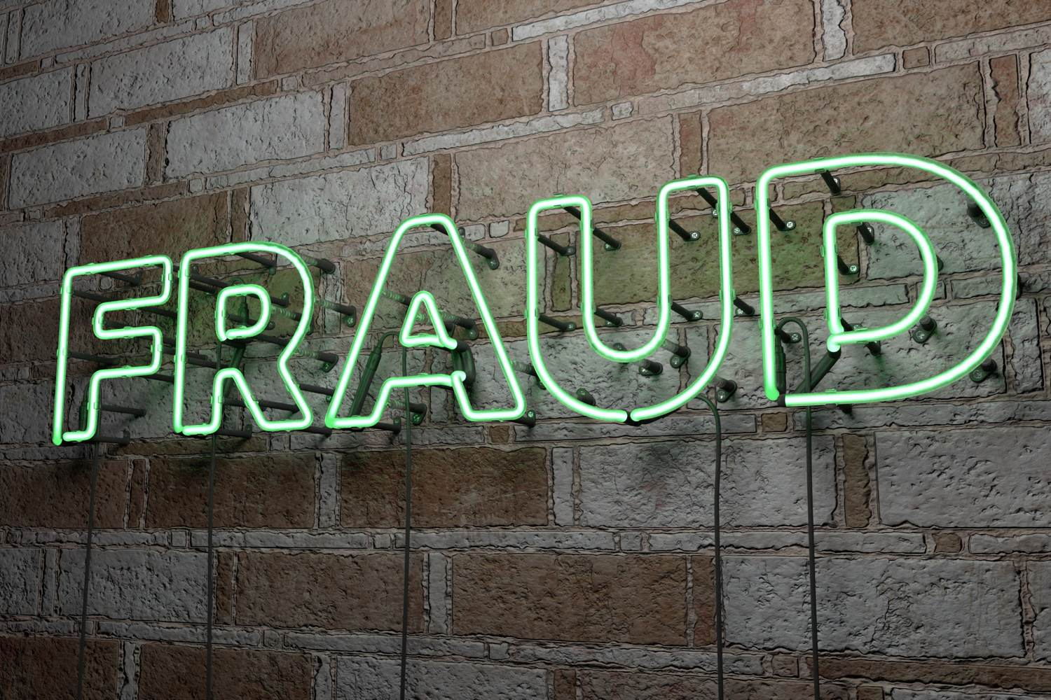 Fraud in green neon light on bare brick wall